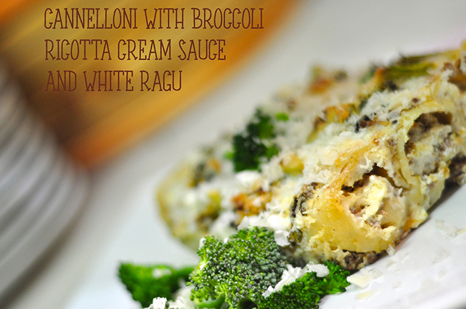 Cannelloni with broccoli ricotta creamy sauce and white ragú