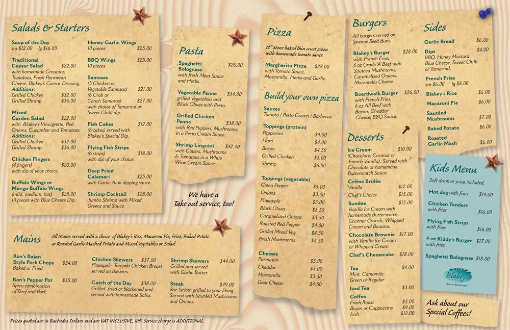 Blakey S Bar And Restaurant Barbados Menu