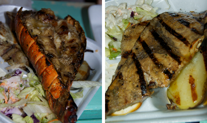 Lobster and Marlin at Oistins Fish Fry Barbados