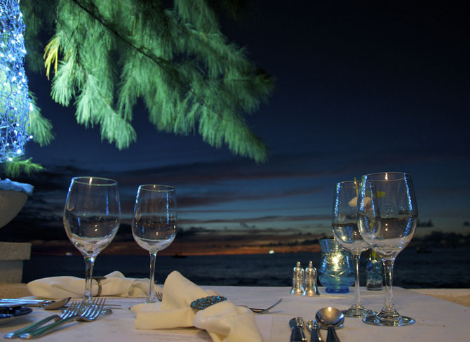 Our table setting at the Tides Restaurant Barbados