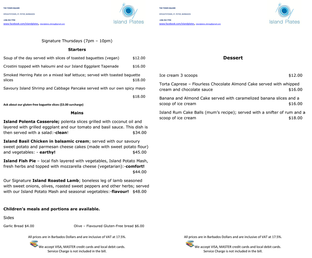 Island Plates Menu- Dining in Barbados