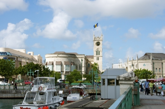 Parliament Building with the Barbadian Flag Flying High
