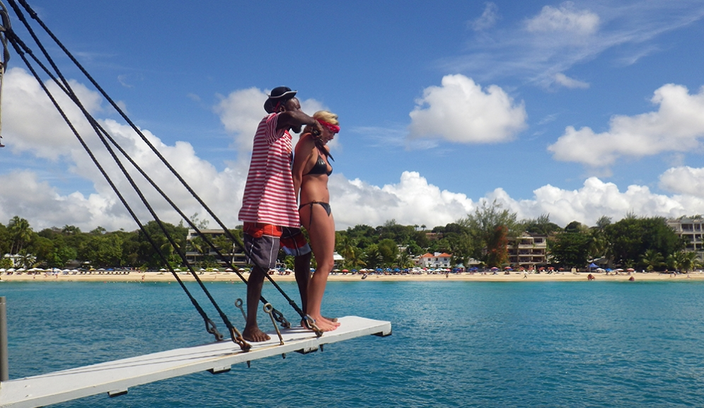 Off the plank on Black Pearl Party Cruises Barbados