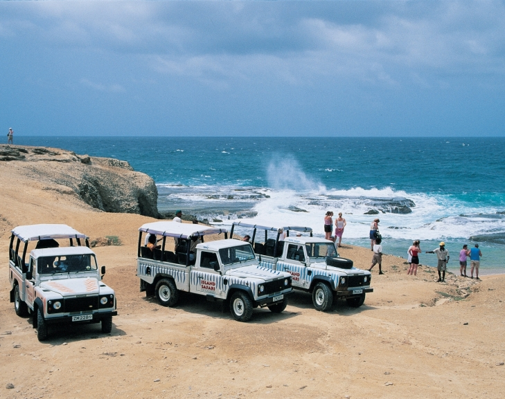 Island Safari Jeeps overlooking the beach in Barbados