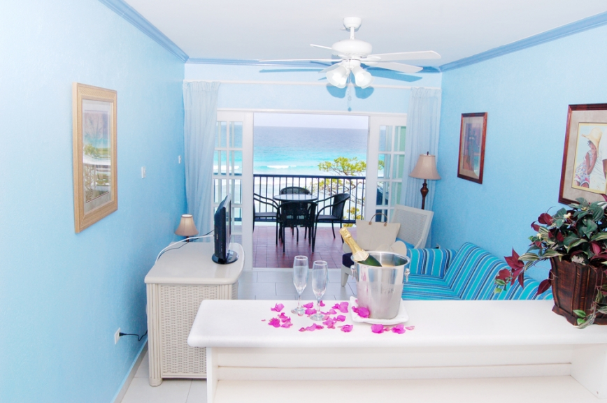 One Bedroom Suite Living Room at South Gap Hotel Barbados