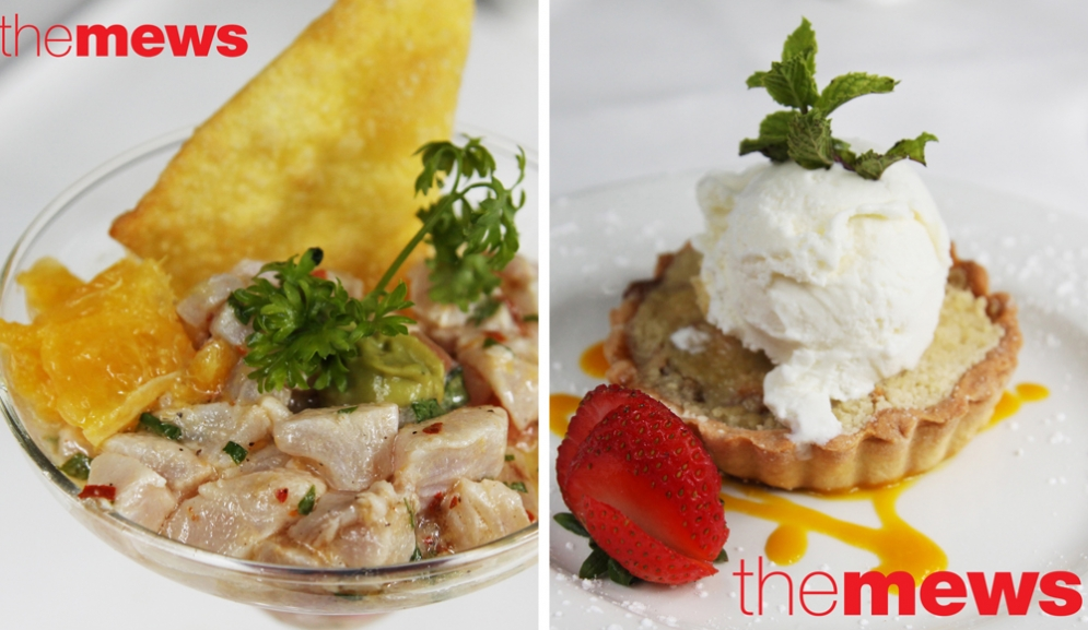 Ceviche & Apple Crumble  at The Mews Restaurant Barbados