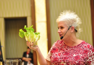 Cooking live with Anne Burrell at the Barbados Food Wine and Rum Festival 2014